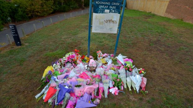 Flowers at Koonung Creek Linear Park in Doncaster a few days after Masa Vukotic was murdered.