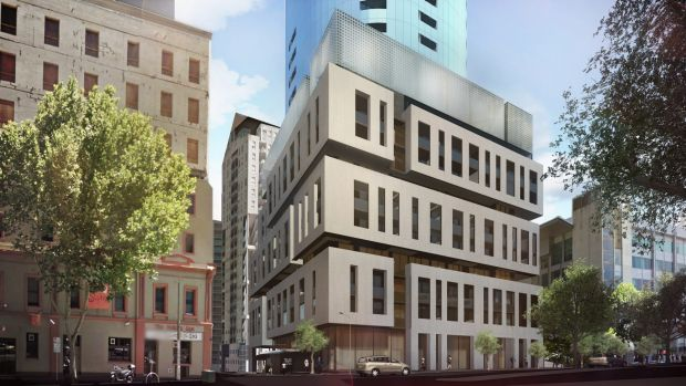 An artist's impression of the approved residential tower at 295-309 King Street in Melbourne.