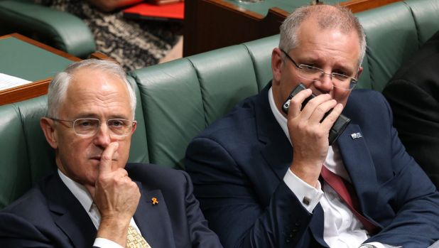 Prime Minister Malcolm Turnbull and Treasurer Scott Morrison during a divison to suspend standing orders at Parliament ...