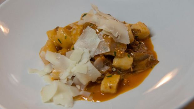The gnocchi di patate – braised duck, porcini mushrooms and pecorino pepato dish.