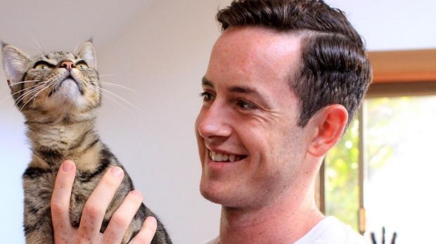 Zeppee co-founder Ben Burton with Zeppee, his 10- month-old kitten.