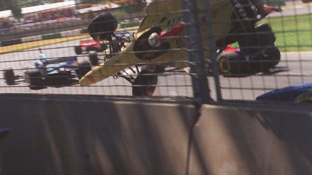Drama: An image from the Brundle crash in 1996.