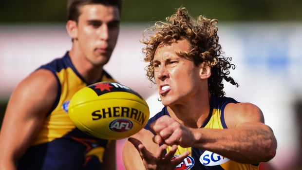 One better: Matt Priddis gets a handball away for West Coast.
