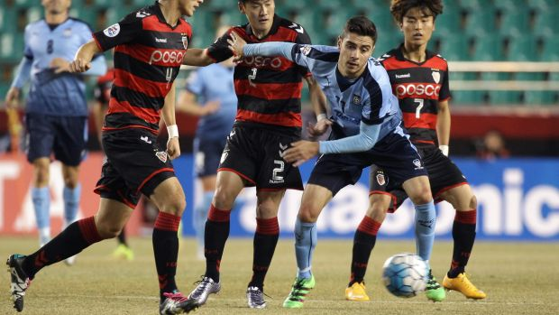 Match-winner: Chris Naumoff scored the only goal as Sydney FC beat Pohang Steelers in the Asian Champions League.