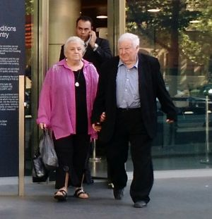 Noel and Beverley McNamara leave court on Thursday.
