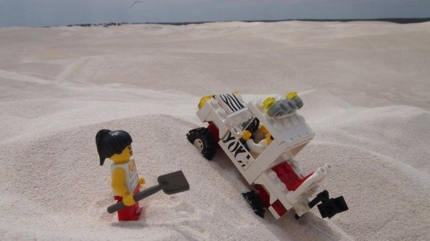 The Lego Travellers in the Lancelin sand dunes.