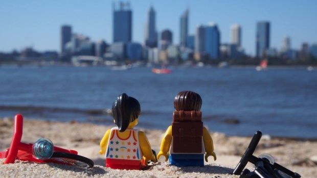 Lego Travellers take in the sights of Perth.