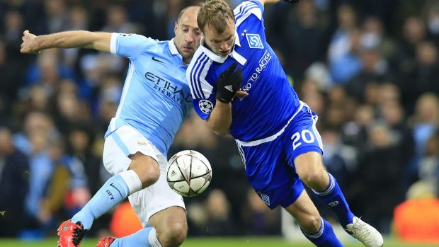 My ball: Manchester City's Pablo Zabaleta, tackles Kiev's Oleh Husev for the ball.