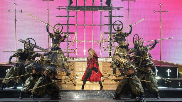 Madonna performs on stage during her Rebel Heart Tour in Brisbane.