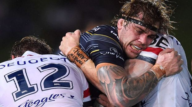 Ethan Lowe appeared to touch a referee during the Cowboys large win over the Sydney Roosters.