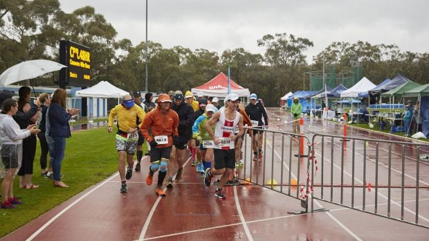 The start of the Canberra 48-hour race at the AIS Athletics Track on Friday.