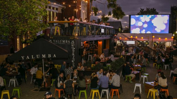 Yalumba's shipping container bar is back again for the Night Noodle Markets.