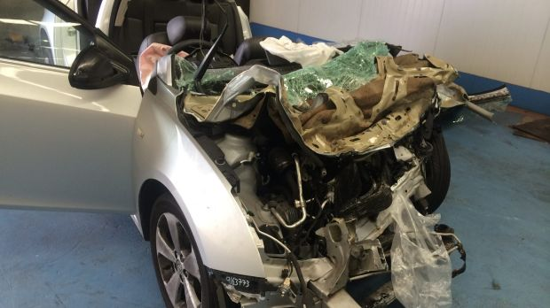 The state of Kelly Haywood's car after the crash says a lot about the violence of the collision.