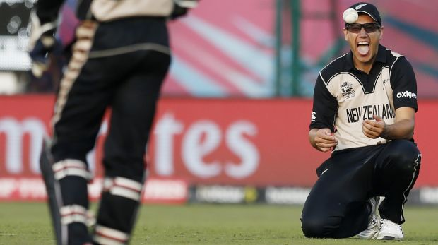 New Zealand's Ross Taylor reacts as he fields the ball during the team's Twenty20 World Cup win over Australia.