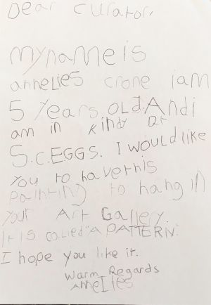 The letter Annelies wrote to the Art Gallery of NSW as a five-year-old.