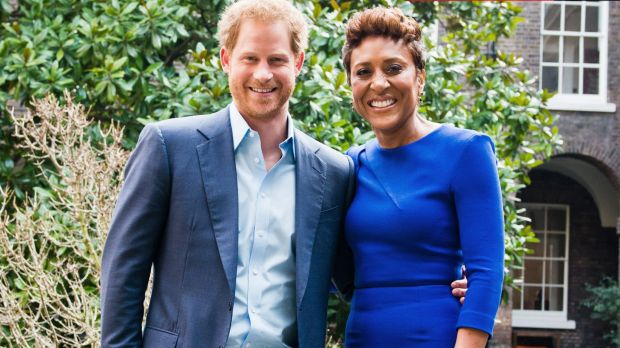 Prince Harry, left, with ABC's <i>Good Morning America</i> co-host Robin Roberts during the exclusive interview.