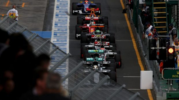 Lewis Hamilton's Mercedes at the front of the grid in qualifying at Albert Park