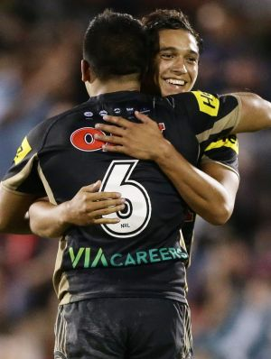 Te Maire Martin celebrates victory with team mate Tyrone Peachey.