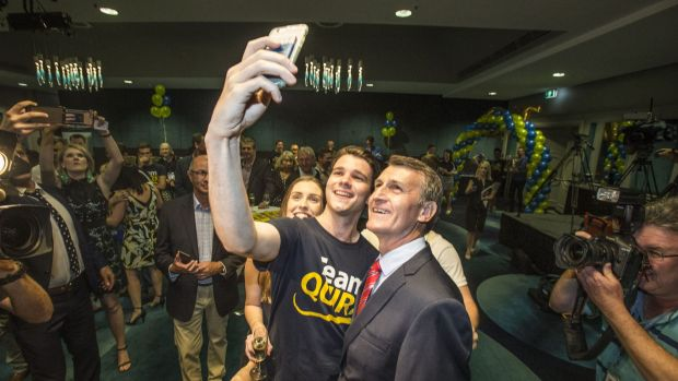 Brisbane Lord Mayor Graham Quirk secures a hard-fought election victory and celebrates with supporters.