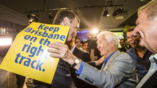 Lord Mayor Graham Quirk is greeted by LNP faithful as he claims victory in the Brisbane City Council election.