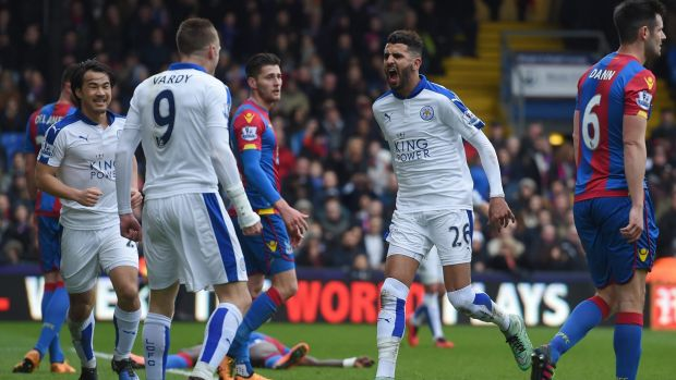Goal hero: Riyad Mahrez celebrates his winner.