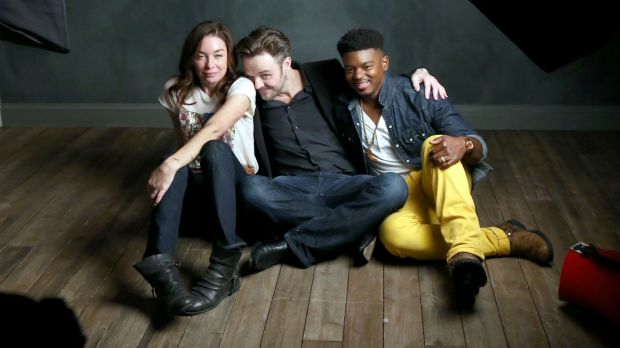 Matthew Newton with actors Julianne Nicholson and J. Mallory McCree at SXSW.