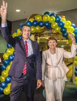 Lord Mayor Graham Quirk, pictured with his wife, Anne, led the LNP to a record Brisbane City Council victory on Saturday.
