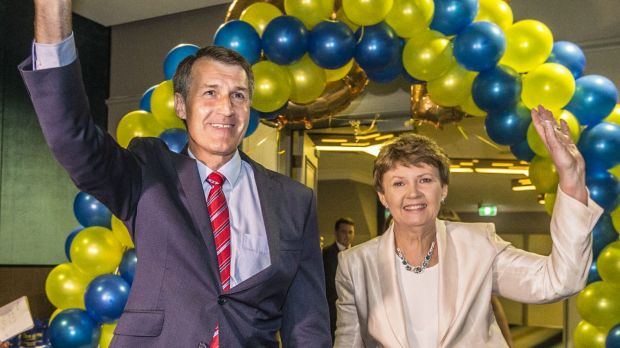 Graham Quirk and his wife Anne celebrate victory in the lord mayoral race.