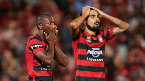 GOAL DROUGHT:  Romeo Castelen of the Wanderers reacts after a missed goal opportunity during game between Western Sydney ...