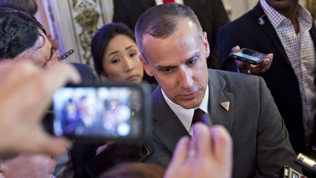 Corey Lewandowski, former campaign manager for 2016 Republican presidential candidate Donald Trump, speaks to members of ...
