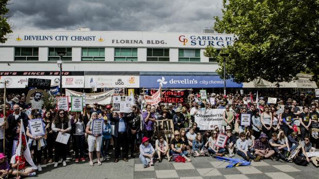 Thousands of Canberrans have rallied at Garema Place in support of refugees.