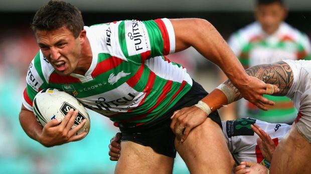 Time out: Sam Burgess in action for the Bunnies against the Dragons before he suffered his injury.