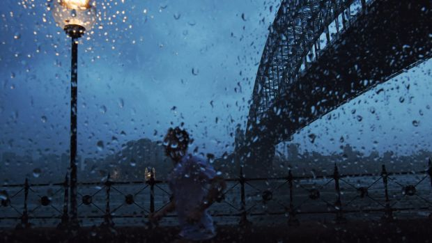 Some Sydneysiders braved the wet weather for a morning workout on the harbour.