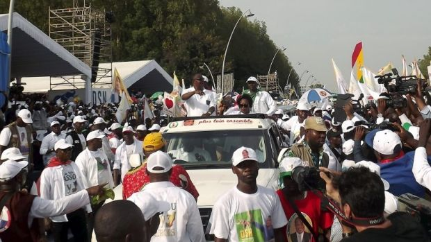 Congo Republic President Denis Sassou Nguesso at the closing rally of his electoral campaign in Brazzaville on Friday.