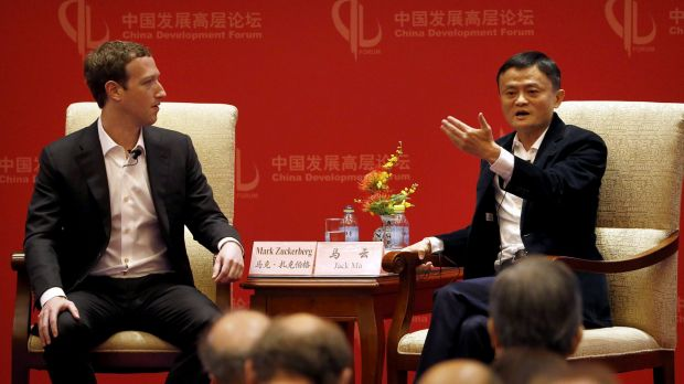 Facebook's Mark Zuckerberg with Jack Ma at the China Development Forum in Beijing this year.