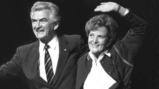 The way they were: Prime Minister Bob Hawke with wife, Hazel, at the Labor Party campaign launch and policy speech at ...