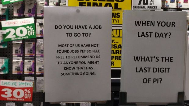 A sign asking Dick Smith workers to recommend work for sacked employees.