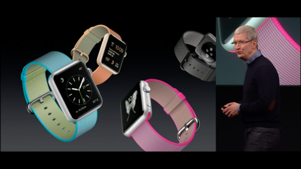 Tim Cook introduces new woven nylon bands for Apple Watch.
