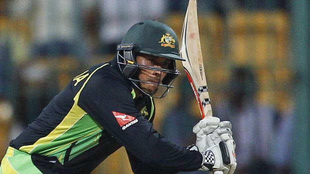 Australia's Usman Khawaja takes a shot during Monday's match against Bangladesh.