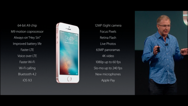 Apple executive Greg Joswiak introduces the 4-inch iPhone SE.
