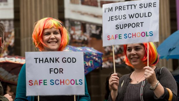 People rally in support of the Safe Schools program in Melbourne in March this year.