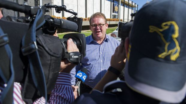 Legal action: Brumbies' Michael Jones leaves the ACT Supreme Court last month.