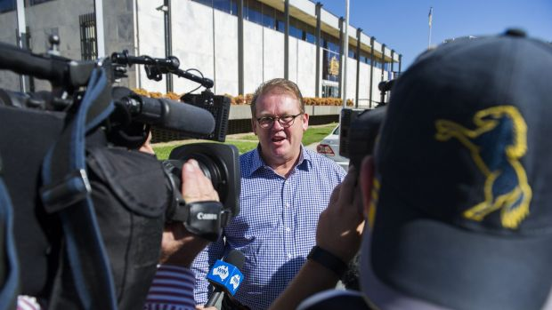 Legal action: Brumbies' Michael Jones leaves the ACT Supreme Court.