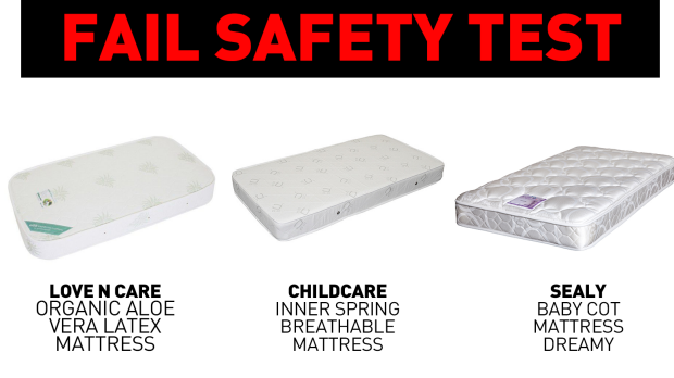 The three mattresses found to have failed the firmness safety test by consumer group CHOICE.