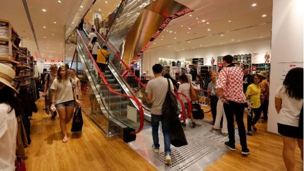 Eager customers get the first look inside the new clothing superstore