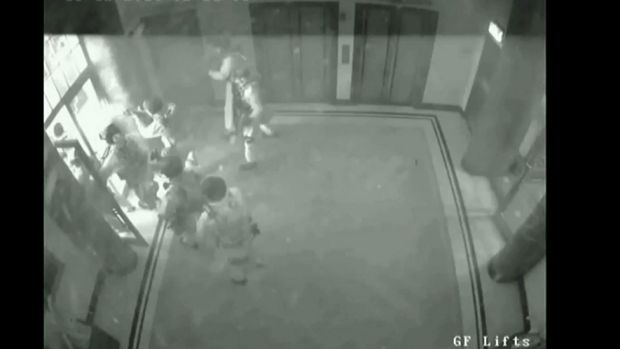 CCTV shows police storming the Lindt cafe and bringing the siege to an end.