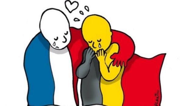 The poignant cartoon by Plantu for <i>Le Monde</i> created immediately after the Brussels attack.