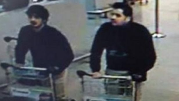 Two of the suspected bombers captured on CCTV footage minutes before the fatal blasts at the airport. Police are ...