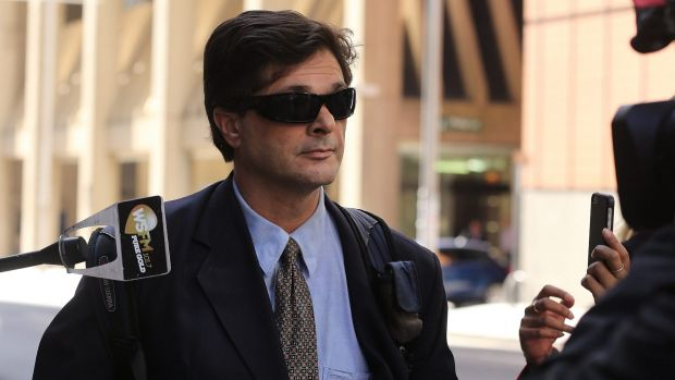 Christopher Fotis leaves the royal commission after giving evidence in April 2015.