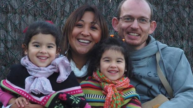 Adelma Tapia Ruiz, pictured with her twin daughters, was killed in the Brussels Airport blasts, her brother says.